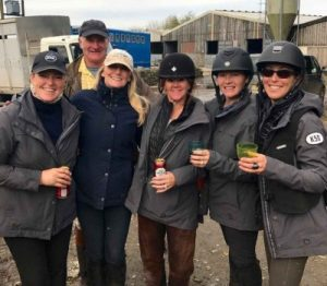 A group of riders enjoying a post ride drink