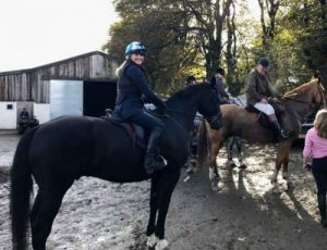 Riders in the yard ready for the days ride